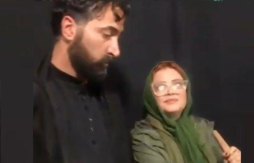 فیلم | بهاره رهنما و همسرش در مراسم اربعین