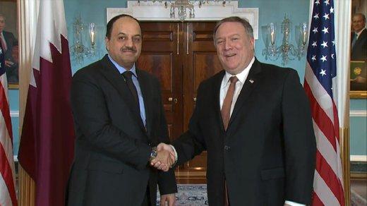 دیدار پمپئو با وزیر دفاع قطر