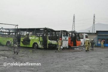 تصاویر | آتش گرفتن ۴ اتوبوس در جنوب شرق تهران