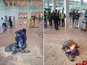 وزیر پاکستانی به دلیل لغو پرواز، لباسهایش را در داخل فرودگاه به آتش کشید!/ تصاویر