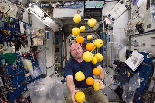 یک فضانورد ناسا در حال تهیه میوه تازه
