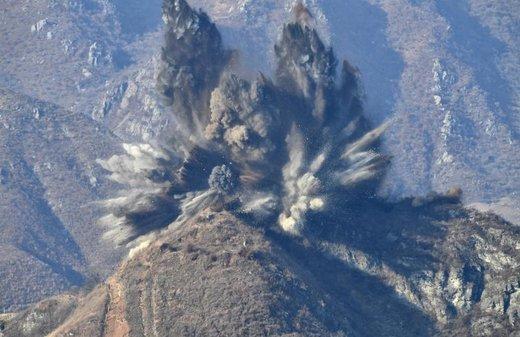 منفجر کردن پست نگهبانی در کوهستان های کره شمالی