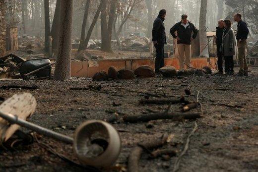 بازدید دونالد ترامپ از خسارات آتش سوزی شهر پارادایس در ایالت کالیفرنیای آمریکا