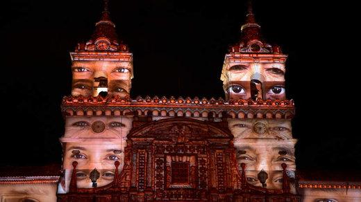 کار هنری یک هنرمند فرانسوی در شهر کیتو، پایتخت اکوادور،