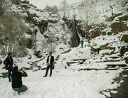 بارش اولین برف پائیزی و شادی مردم همدان