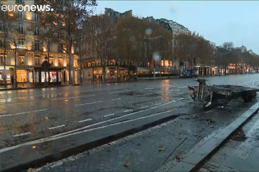 فیلم | خسارات درگیریهای پاریس به خیابان شانزلیزه