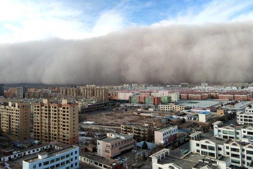 وقوع طوفان شن در شهر ژانگی چین
