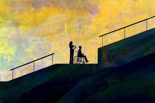 نقاشی که با  مچ دست نقاشی می کند/معلولیت تاوان گناه نیست