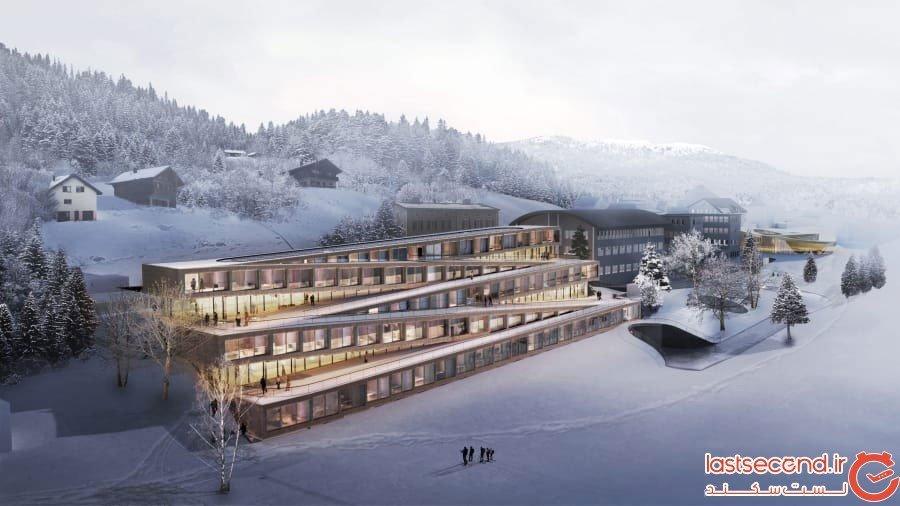 هتلی در سوئیس که می شود روی سقفش اسکی کرد