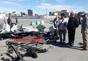 عکس   لاشه خودروی عامل انتحاری حمله تروریستی چابهار