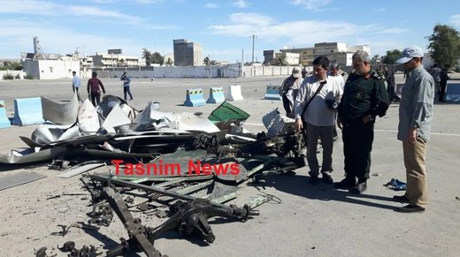 لاشه خودروی عامل انتحاری حمله تروریستی چابهار
