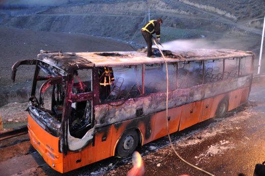 جزییات آتشسوزی اتوبوس ولوو با ۴۳ سرنشین