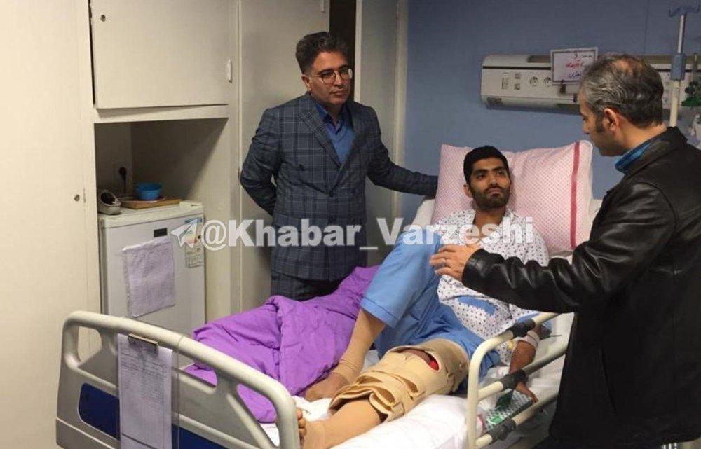 تصویری از مدافع پرسپولیس پس از جراحی