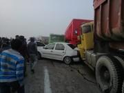 فیلم | تصادف زنجیرهای ۲۹ خودرو در جاده اهواز-آبادان