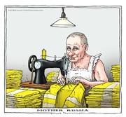 پوتین در حال دوختن جلیقههای زرد!