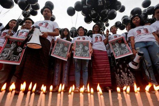 اجتماع برای آزادی دو خبرنگار رویترز در شهر یانگون میانمار