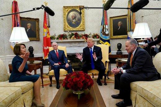 ملاقات دونالد ترامپ رئیسجمهور آمریکا و مایک پنس با چاک شومر و نانسی پاتریشیا دالساندرو پلوسی در کاخ سفید