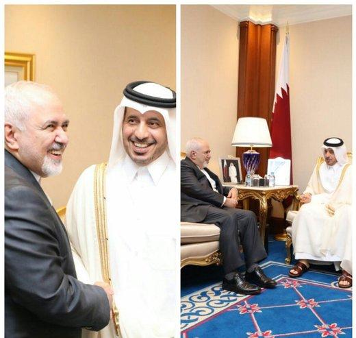 ظريف يلتقي رئيس وزراء قطر في الدوحة