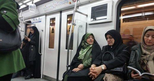 عکس   متروسواری معصومه ابتکار در سهشنبه بدون خودرو