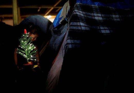 زنی که جزو کاروان پناهجویان آمریکای مرکزی است درخت کریسمس را به چادرش در پناهگاه موقت می برد