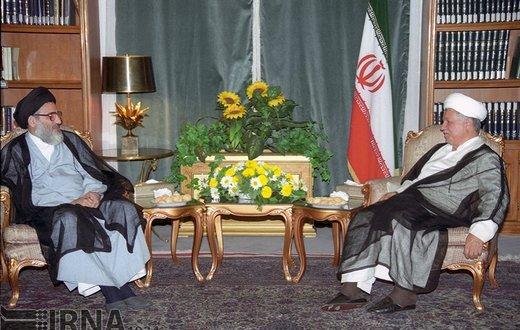 آیتالله سید محمود هاشمی شاهرودی، رئیس قوه قضائیه با هاشمی رفسنجانی رییس تشخیص مصلحت نظام سال 1378 دیدار می کند