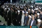 فیلم | اقامه نماز رهبر انقلاب بر پیکر آیتالله هاشمیشاهرودی