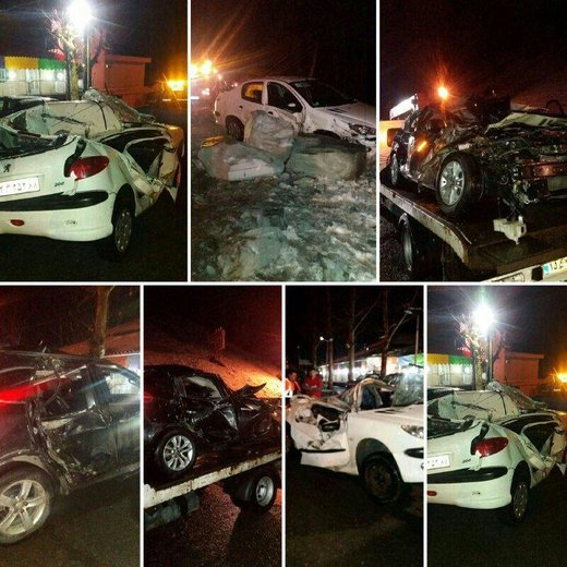 خودروهایی که دیشب در محدوده آسارا ، محله ریزمین روبروی رستوران توچال بر اثر ریزش سنگ از کوه خسارت دیدند