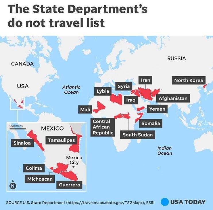 کشورهایی که از نظر آمریکا برای سفر ناامن هستند