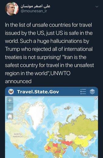 افزودن ایران به عنوان لیست کشورهای نا امن برای سفر از سوی آمریکا و واکنش مونسان