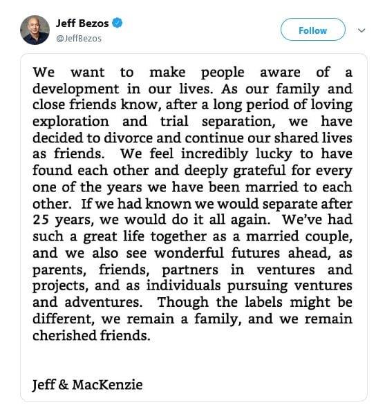توییت بروس درباره طلاق از مک کنزی