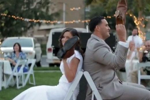 فیلم   بازی جالبی که برای عروس و داماد ترتیب دادند