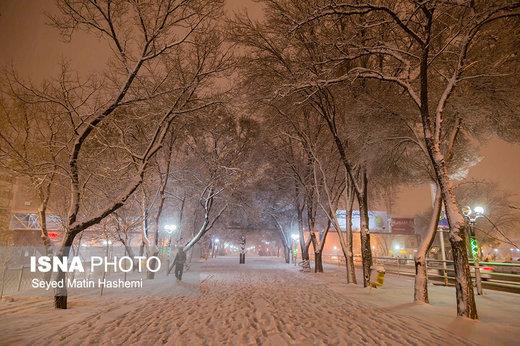 بارش برف در تبریز