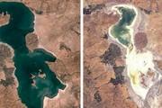 چالش عکس ۱۰ ساله به دریاچه ارومیه رسید/ مرثیهای برای محیط زیست