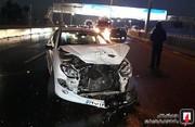 تصاویر | تصادف زنجیرهای ۶ خودرو در آزادراه قم-تهران