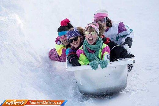 رقابت اسکی با وان حمام در تپه های برفی دهکده استوس سوئیس