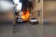 فیلم | آتش گرفتن تاکسی سمند در شیراز