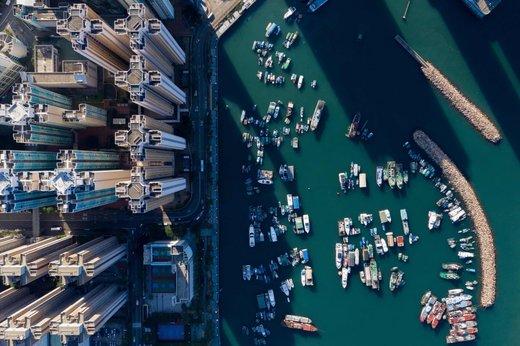 لنگر انداختن قایق ها در هنگ کنگ
