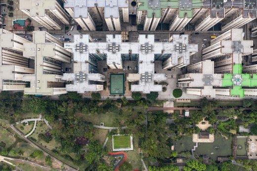 املاک مسکونی از بالا در هنگ کنگ