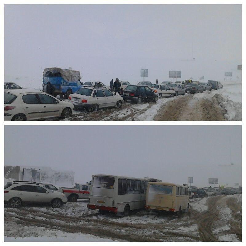 خودروهای گرفتار در برف و کولاک شدید گردنه مایین بلاغ شاهیندژ