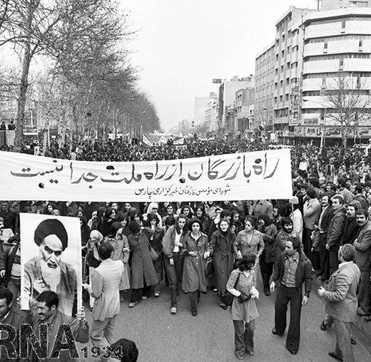 19 بهمن 1357؛ راهپیمایی مردم تهران در حمایت از امام خمینی (ره)