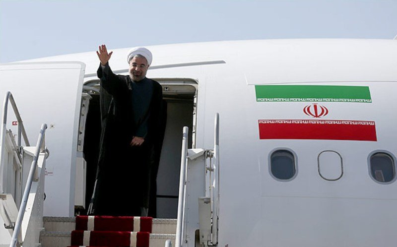 President Rouhani back home from Russia