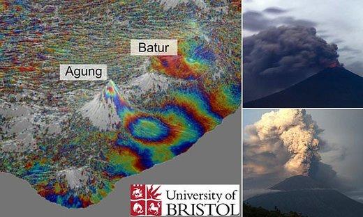 ۲ آتشفشان در بالی با ۱۸ کیلومتر فاصله از زیر به هم وصل هستند