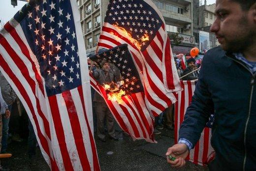 به آتش کشیدن پرچم آمریکا در تهران در جریان راهپیمایی چهلمین سالگرد پیروزی انقلاب اسلامی