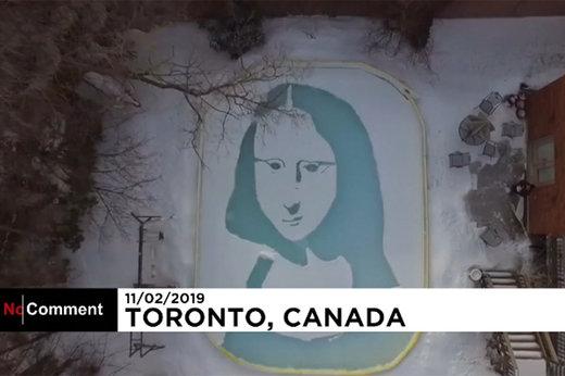 فیلم | نقاشی لبخند ژکوند با پارو روی برف و یخ!
