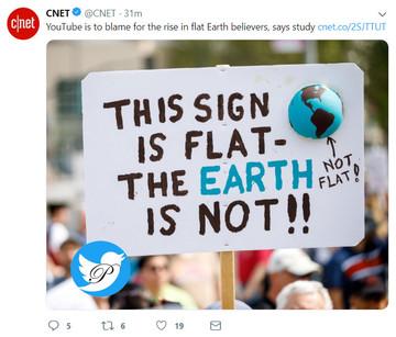 یوتیوب مقصر اصلی توسعه تفکر گرد نبودن زمین