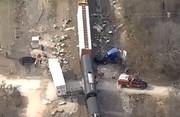 فیلم   تصاویر هوایی از تصادف قطار با تریلی ۱۸ چرخ