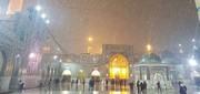 عکس | بارش برف و تگرگ در حرم رضوی(ع)