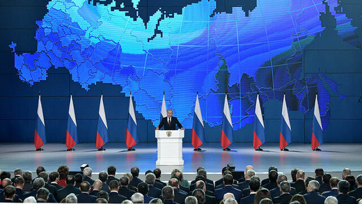 پوتین در سخنرانی سالانه خود آمریکا را تهدید موشکی کرد/ عکس