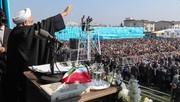 تصاویر | حضور روحانی در جمع مردم لاهیجان