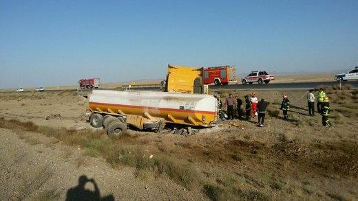 انحراف تانکر حمل بنزین هواپیما در محور «قزوین-رشت»